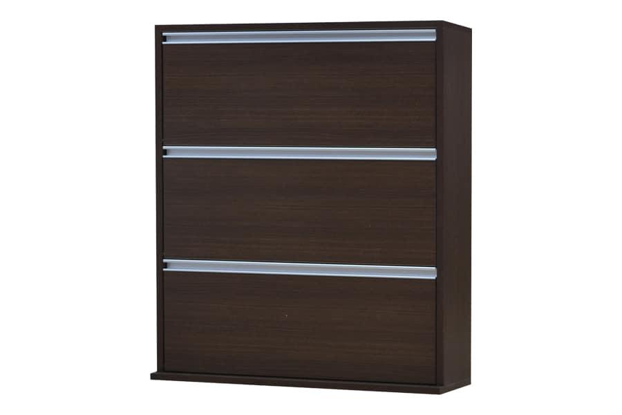 シューズボックス フラップタイプ  薄型木製シューズボックス ワイド3段 MK−903 ブラウン