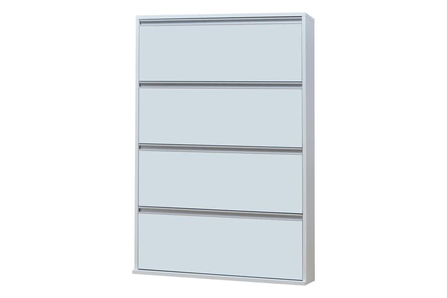 シューズボックス フラップタイプ  薄型木製シューズボックス ワイド4段 MK−904 ホワイト