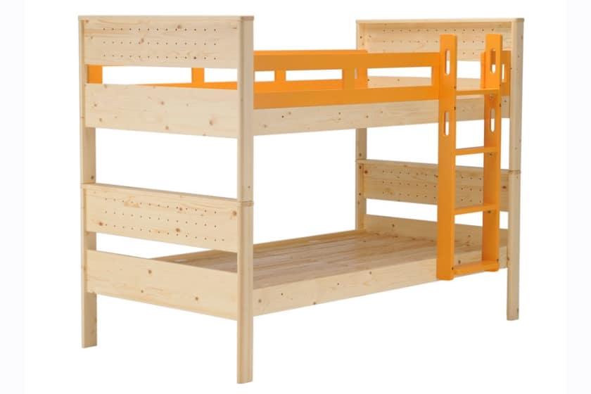 二段ベッド ヒュッテ(本体:ナチュラル/パーツ:オレンジ)