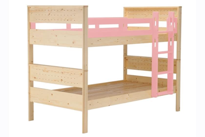 二段ベッド ヒュッテ(本体:ナチュラル/パーツ:ピンク)