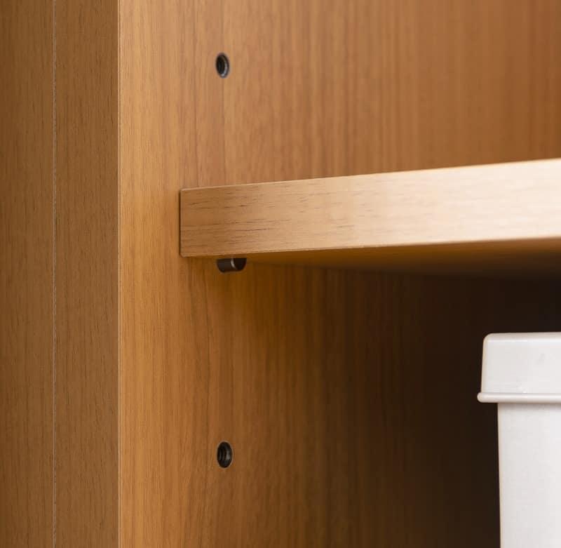 スライドワードローブ エブリー5 120 DK 【右ミラー】:ねじ込み式だから棚板調節が簡単
