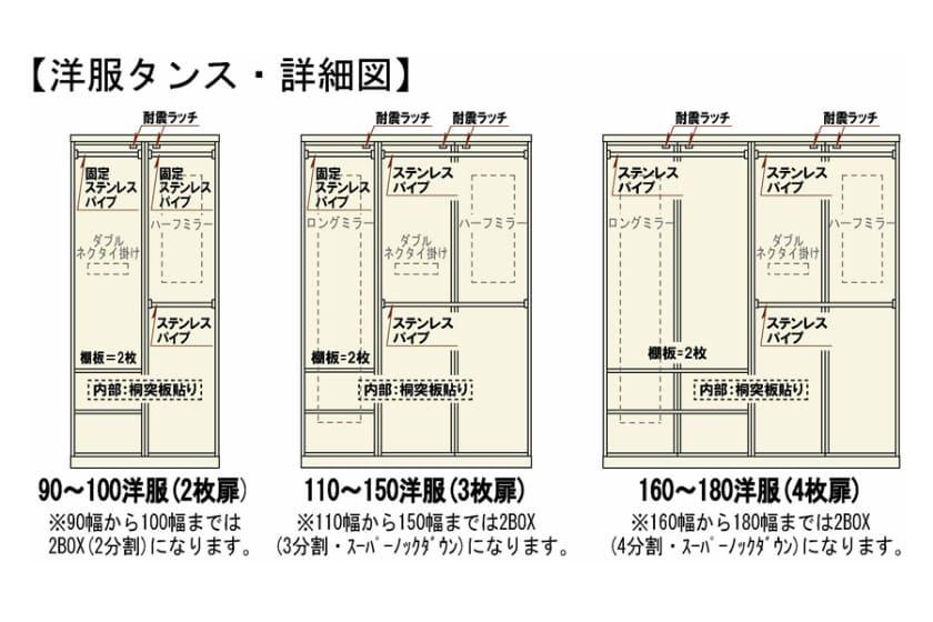 ステラスタンダード 110洋服 H=182・3枚扉 (ナチュラル)