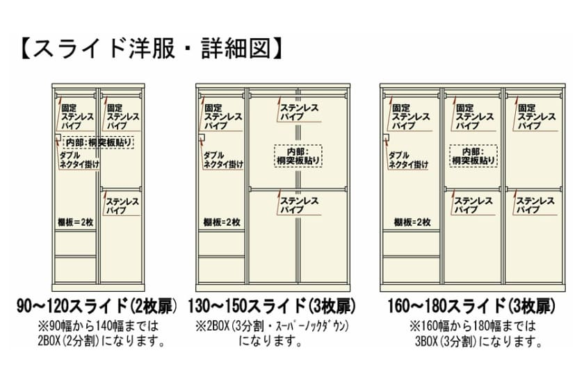 ステラスタンダード 130スライド H=192・3枚扉 (ウォールナット)