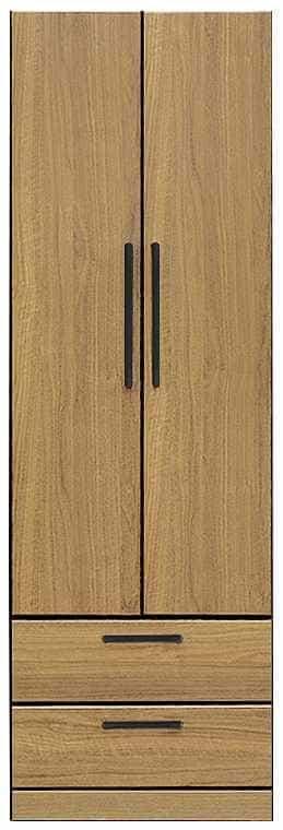 洋服タンス ナット 60 ナチュラル/取手ブラック:インテリアを作る