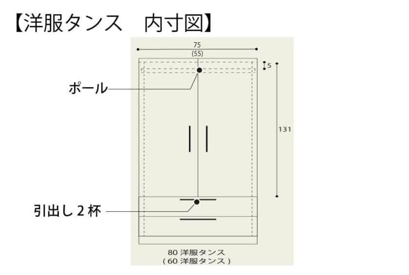 洋服タンス ナット 60 ホワイト/取手ブラック