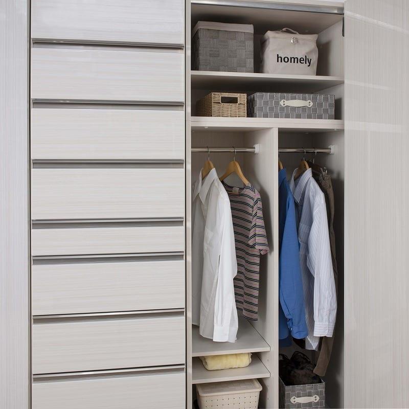 ケース 洋服タンス ワード 折戸 80 (R):大収納量の折戸タイプ