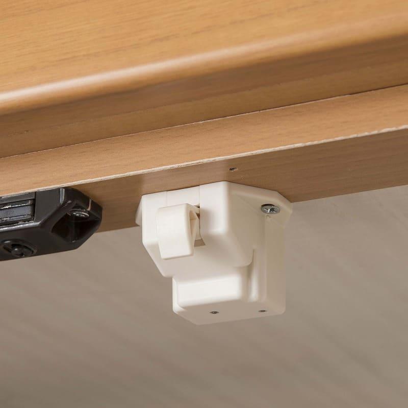 ビューティEX ローチェスト80(ウォールナット):耐震ラッチで安全対策