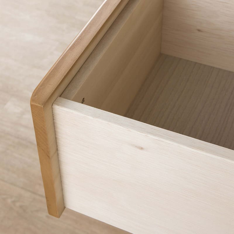 洋服タンス【引出付】 マースト60 ナチュラル:箱組仕様の引出で耐久性をUP