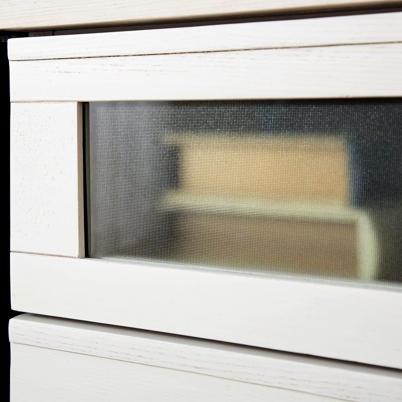 アルカAL−43 ローチェスト 幅40cm×高さ67cm WH:ミストガラスがアクセント