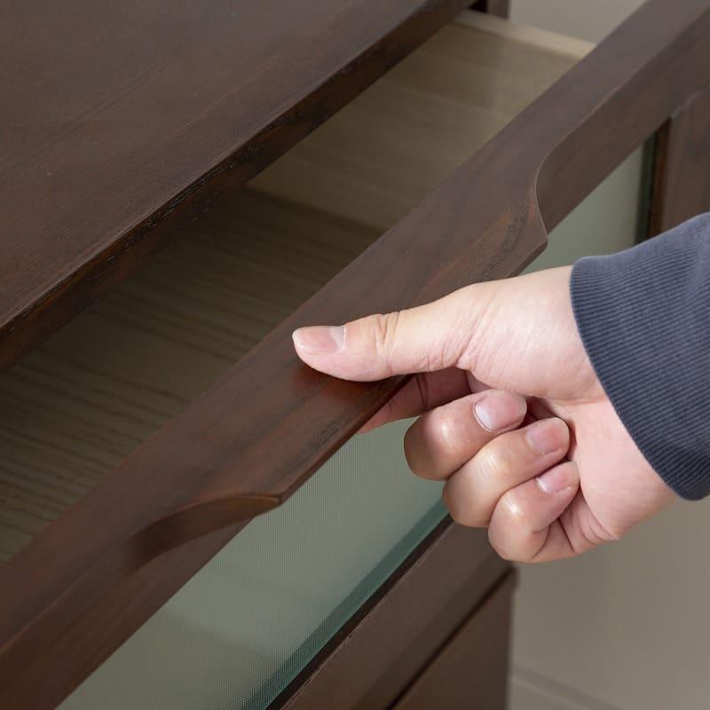 アルカAL−83 ローチェスト 幅80cm×高さ67cm WH:無垢材取っ手