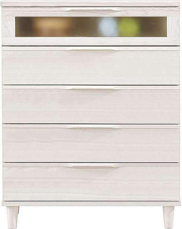 アルカAL−85 ハイチェスト 幅80cm×高さ101cm WH:天然木の温かみ感じる質感