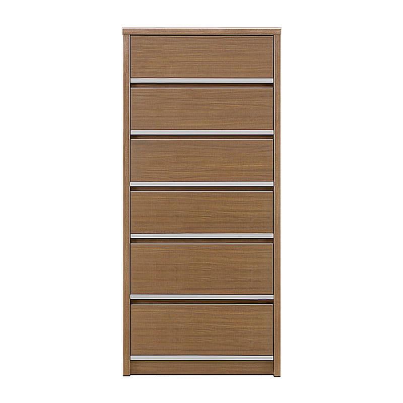 ハイチェスト リベルテ 60−6H WN:お部屋に馴染む、シンプルなデザイン