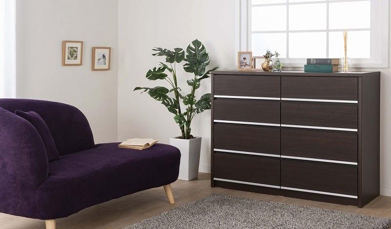 ローチェスト リベルテ 90−4L WN:お部屋に馴染む、シンプルなデザイン