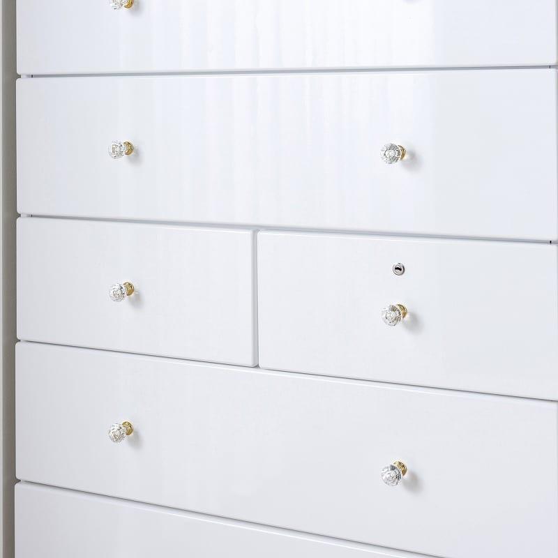 ローチェスト ジュリエッタ 80−4LC(BL/取手クリスタル):お手入れ簡単エナメル塗装