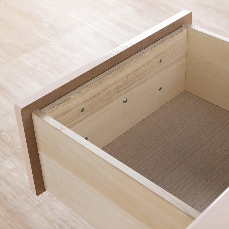 ローチェスト ジュリエッタ 80−4LC(BL/取手ピンク):箱組み構造