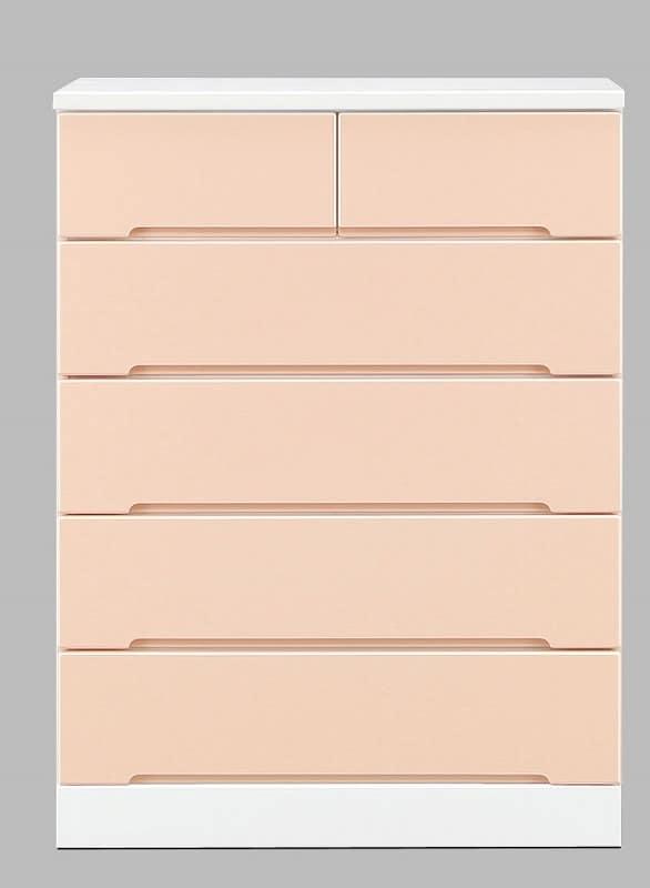 ハイチェスト アトリエ 80−5H PI:パステルカラーの可愛いデザイン