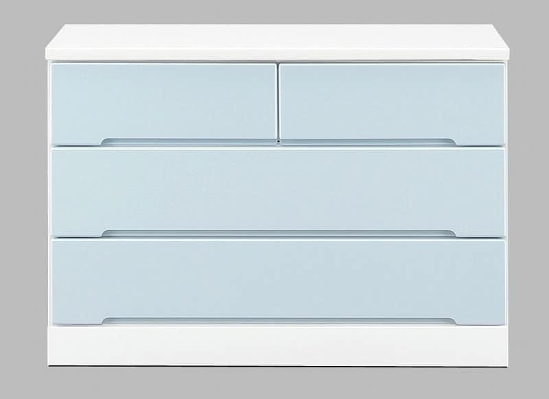 ローチェスト アトリエ 105−3L BL:パステルカラーの可愛いデザイン