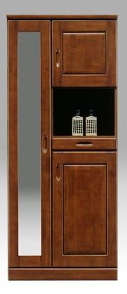 【ネット限定】シューズボックス マリー75H(BR):《前板はラバーウッド使用!!棚板は洗えるプラスチック製で、洗えて清潔です。》