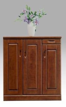 【ネット限定】シューズボックス マリー90L(BR):《前板はラバーウッド使用!!棚板は洗えるプラスチック製で、洗えて清潔です。》