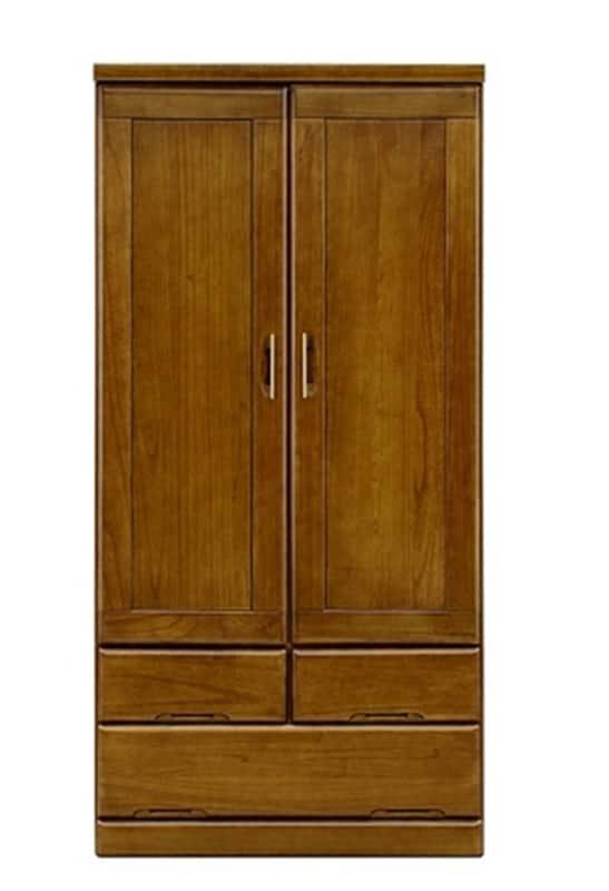 【ネット限定】洋服タンス 優桐90服吊:前板は桐の無垢材を使用しています