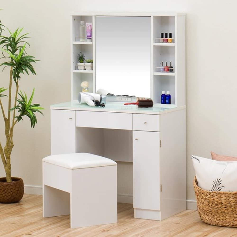 【ニトリ】 両袖ドレッサー コナ3 WH/SI ホワイト:化粧品や小物をたっぷり収納できる、両袖ドレッサーです。
