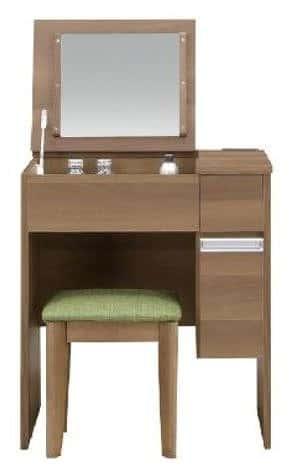フラップデスクドレッサー ソルティ 65 BR:《鏡をしまえるので、お部屋をスッキリ見せるドレッサー》