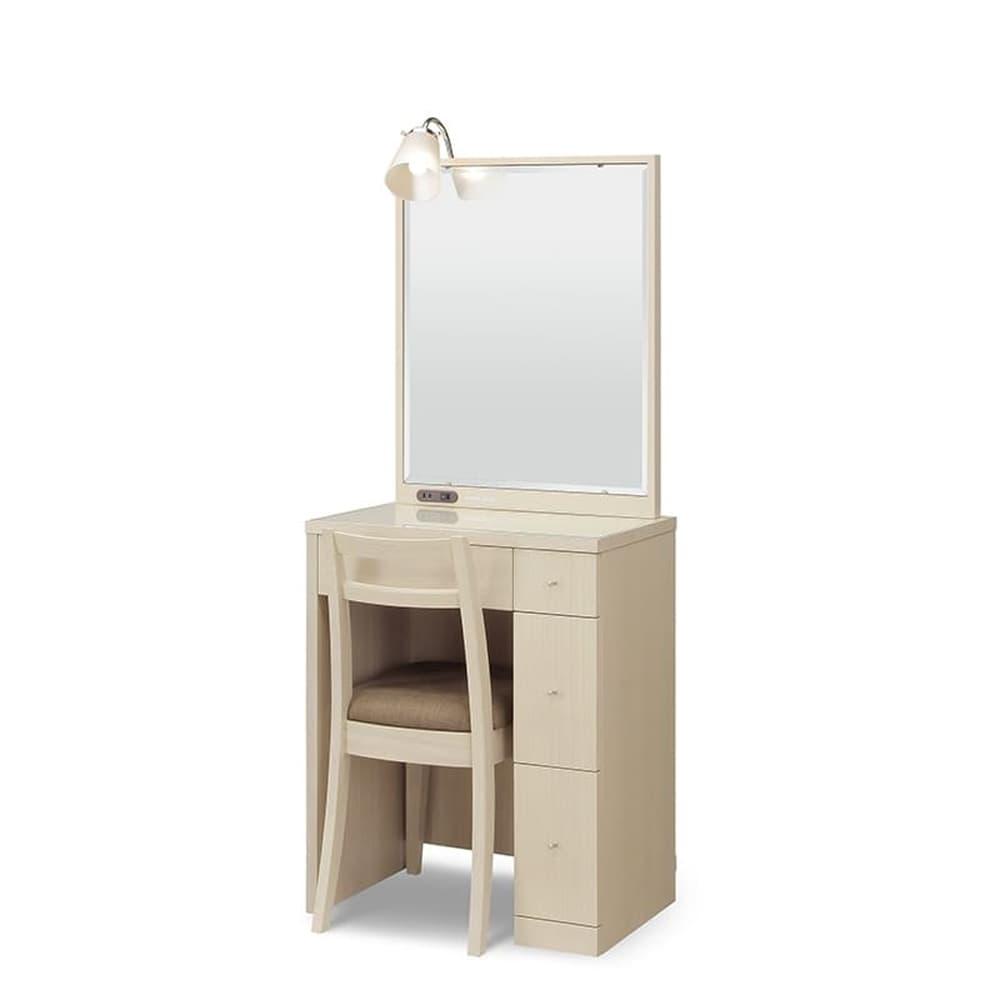 ドレッサー カプリス 一面鏡 WW(ホワイト):《ライト付きのベーシックなドレッサー》