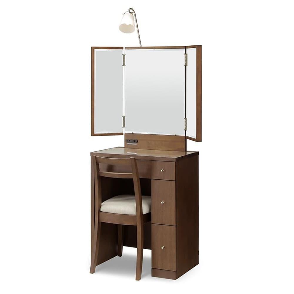 ドレッサー カプリス 三面鏡 WN(ウォールナット):《ライト付きのベーシックなドレッサー》