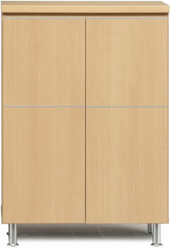 シューズボックス 幅73cm ロータイプ ライトブラウン:《シンプルスタイルのレッグ付のシューズBOX》
