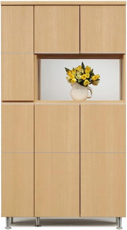 シューズボックス 幅99cm ハイタイプ ライトブラウン:《シンプルスタイルのレッグ付シューズBOX》※小物類はイメージです