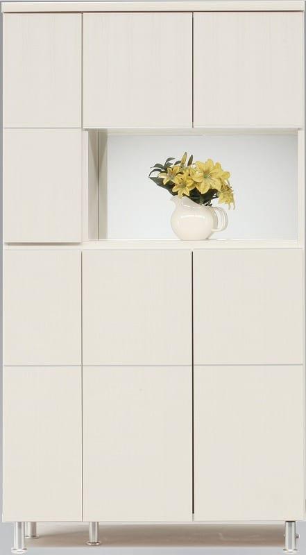 シューズボックス 幅99cm ハイタイプ ホワイト:《シンプルスタイルのレッグ付のシューズBOX》