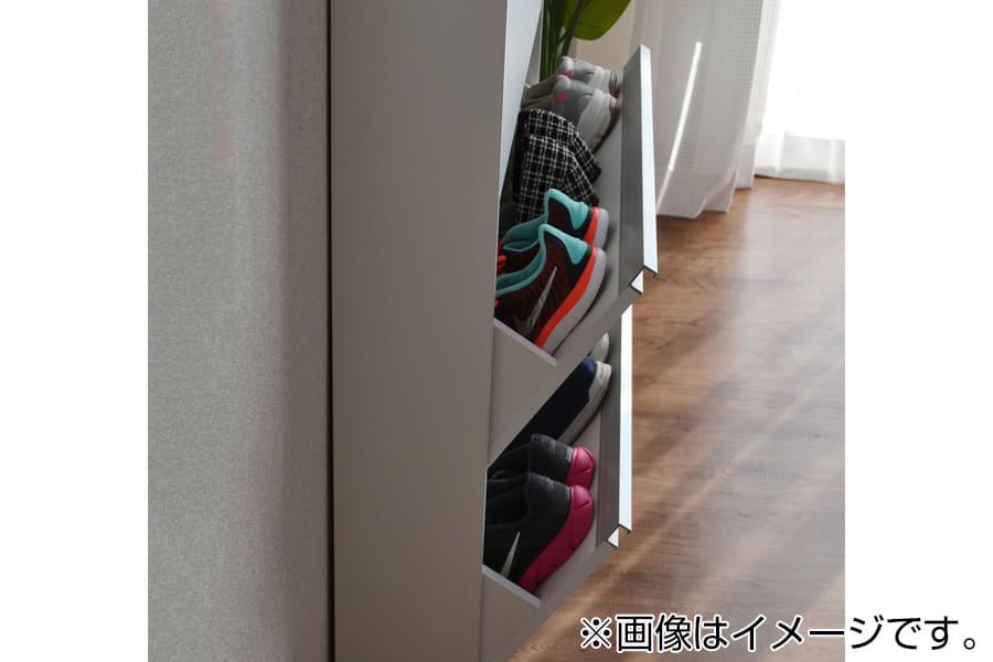 シューズボックス フラップタイプ  薄型木製シューズボックス 3段 MK−703 ブラウン