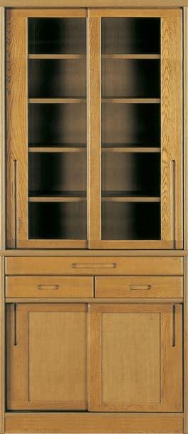 ダイニングボード流水�bP800食器棚(75):《ナラ無垢材をふんだんに使用した、素材感あふれる食器棚「流水」》
