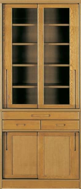ダイニングボード流水�bP800食器棚(85):《ナラ無垢材をふんだんに使用した、素材感あふれる食器棚「流水」》