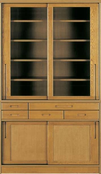 ダイニングボード流水�bP800食器棚(105):《ナラ無垢材をふんだんに使用した、素材感あふれる食器棚「流水」》