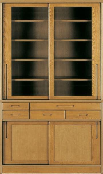 ダイニングボード流水�bP800食器棚(115):《ナラ無垢材をふんだんに使用した、素材感あふれる食器棚「流水」》