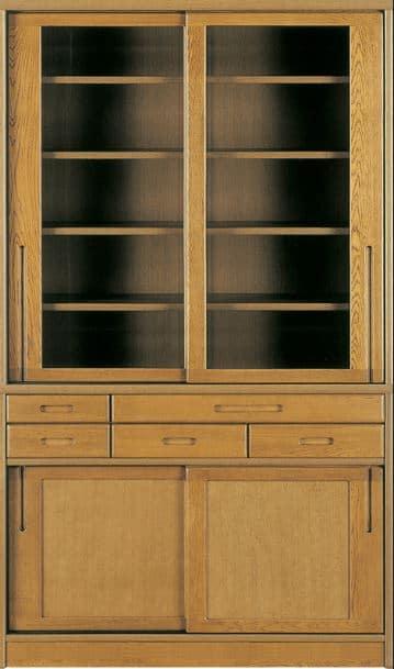 ダイニングボード流水�bP800食器棚(125):《ナラ無垢材をふんだんに使用した、素材感あふれる食器棚「流水」》