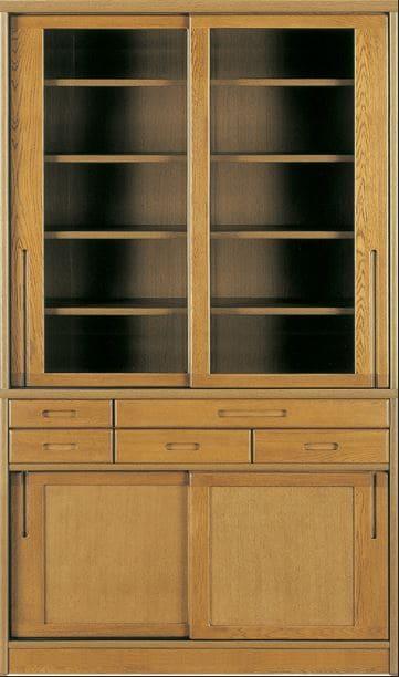 ダイニングボード流水�bP800食器棚(135):《ナラ無垢材をふんだんに使用した、素材感あふれる食器棚「流水」》