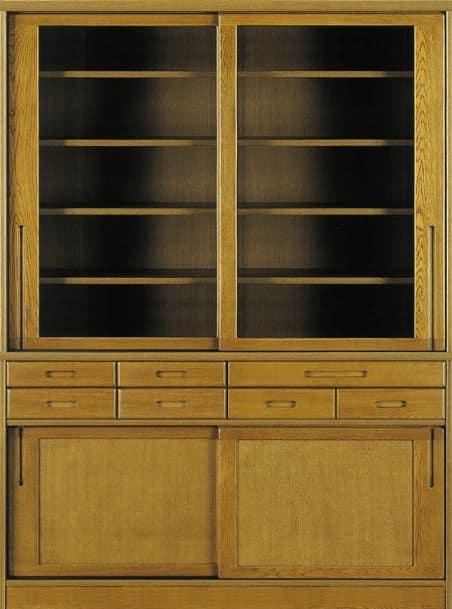 ダイニングボード流水�bP800食器棚(155):《ナラ無垢材をふんだんに使用した、素材感あふれる食器棚「流水」》