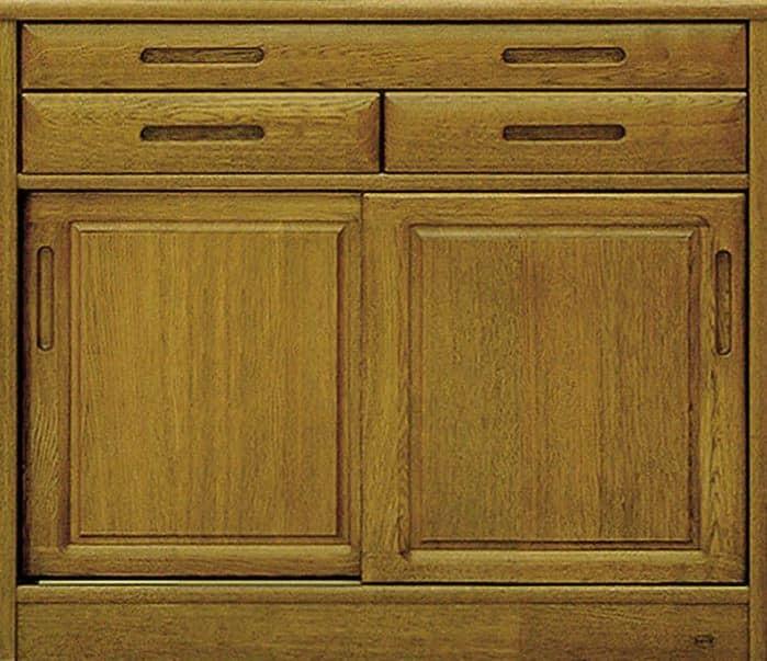 カウンター流水�bQ800(95):《ナラ無垢材をふんだんに使用した、素材感あふれる食器棚「流水」》