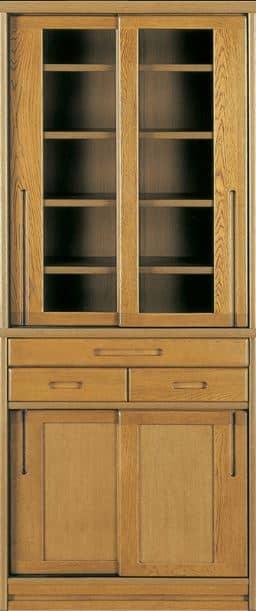 ダイニングボード流水�bP500食器棚(85):《ナラ無垢材をふんだんに使用した、素材感あふれる食器棚「流水」》