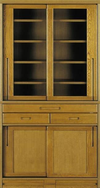 ダイニングボード流水�bP500食器棚(95):《ナラ無垢材をふんだんに使用した、素材感あふれる食器棚「流水」》
