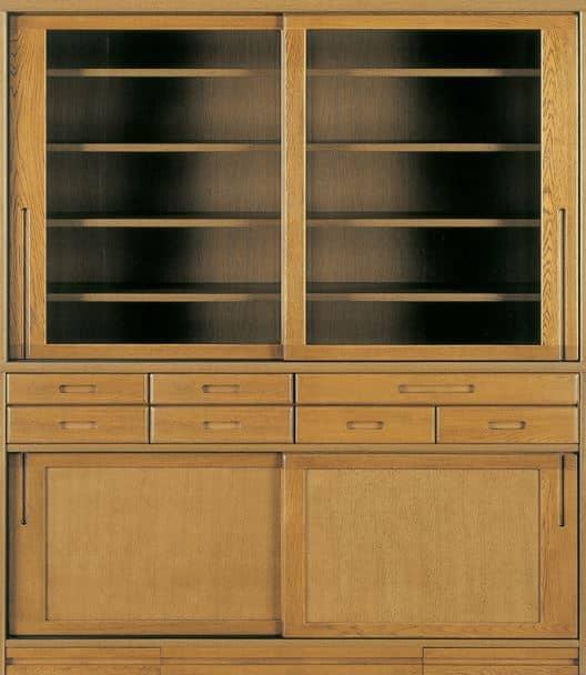 ダイニングボード流水�bP500食器棚(155):《ナラ無垢材をふんだんに使用した、素材感あふれる食器棚「流水」》
