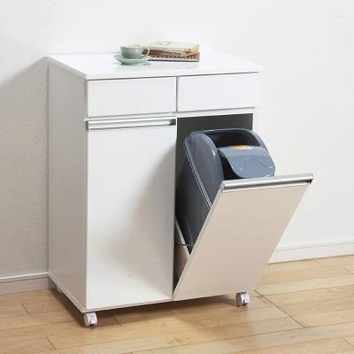 ダイニング ダストボックス 2Dホワイト:《上部引出しはゴミ袋など小物整理に便利なダストボックス》