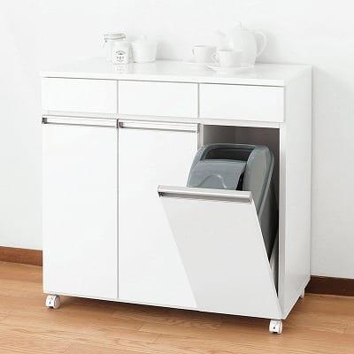 ダイニング ダストボックス 3Dホワイト:《上部引出しはゴミ袋など小物整理に便利なダストボックス》