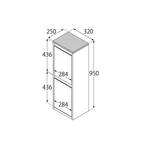 分別ダストボックス YY−WSB−32縦2分別 WH