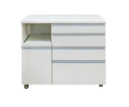 カウンターWH−120W Wプレーンホワイト:《人気のハイカウンターに、お部屋の間仕切りにも便利なワゴンタイプ》