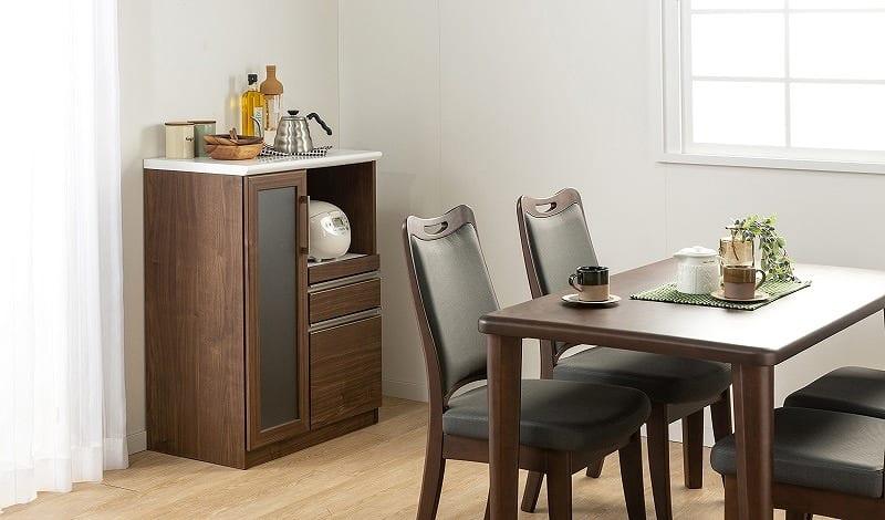 レンジ台 マテリア 70A ミニ食器棚/幅70cm(WH):インテリアに合わせて好きなカラーをチョイス