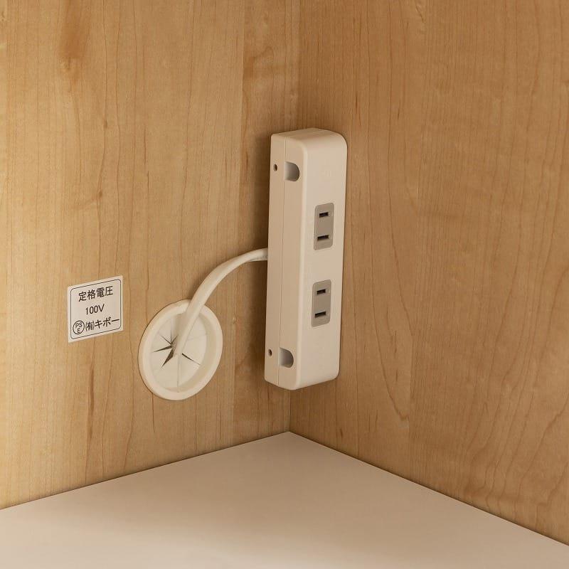 カウンター マテリア 120OP ハイカウンター/幅120cm(WH):家電収納部には2口コンセント完備