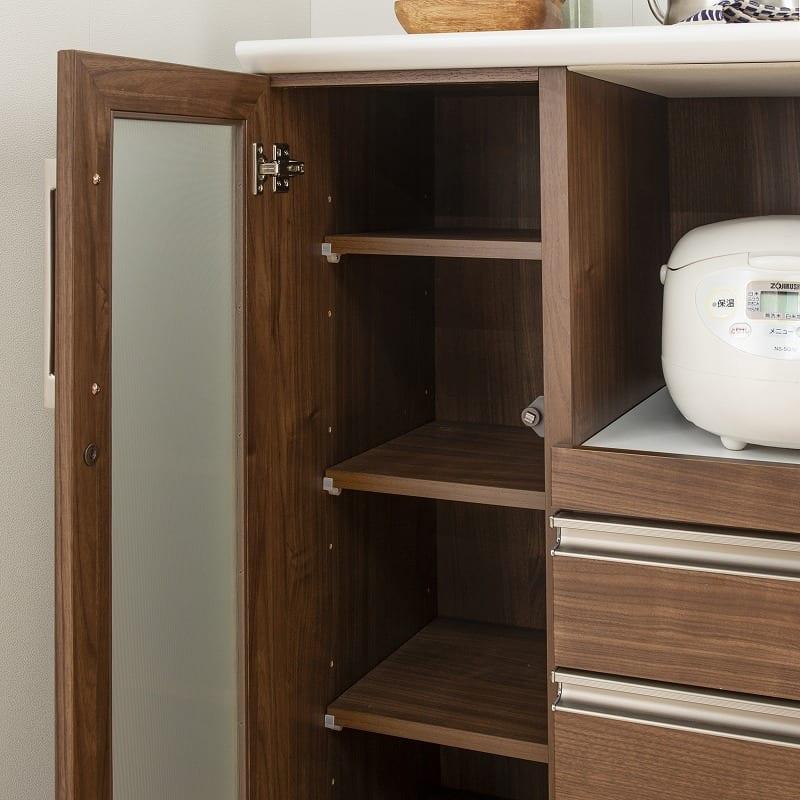 カウンター マテリア 120OP ハイカウンター/幅120cm(WN):可動棚で無駄なく収納